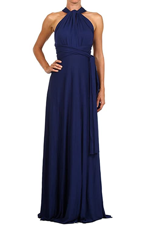 12 Ami Solid Convertible Multi Way Long Maxi Dress Navy Small