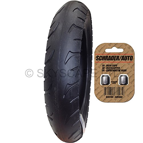 """Stroller / Push Chair / Buggy / Jogger Tire - 12 1/2"""" X 2.00 - 2 1/4 (Black) Super Grippy & Fast Rolling + Free Shipping + Free Upgraded Skyscape Metal Valve Caps (Worth $4.99)"""