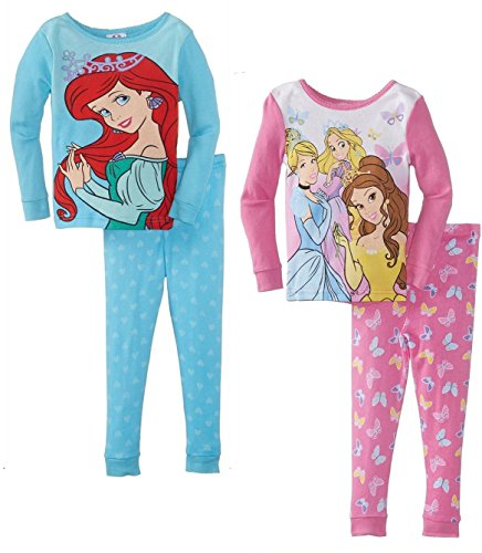 Disney Princess Little Girls 4-Piece Cotton Pajama Set, Infant/Toddler Sizes 12M-4T