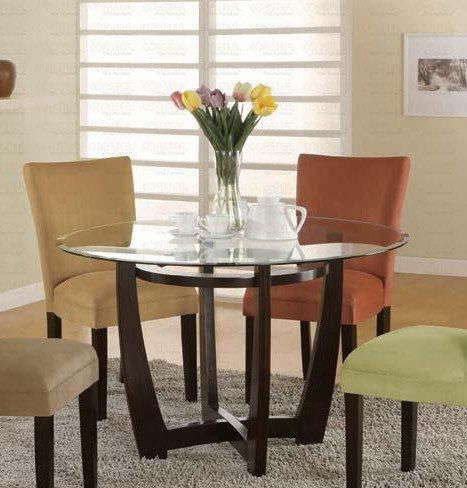 Round Dining Table with Glass Top Cappuccino Finish