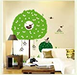 Instylewall Home Decor Mural Vinyl Wall Sticker Big Green Tree Sweet Home Birdcages Kids Nursery Room Wall Art Decal Paper