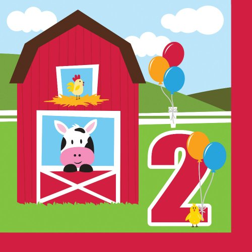 Farmhouse Fun Luncheon Napkin 2nd Bday (16) Farm Animal Barnyard Party