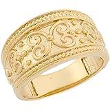 14k Real Yellow Gold Ornamental Design Band Ladies Ring