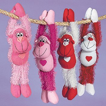 4 Plush Long Arm Valentine Gorillas - 1