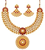Touchstone golden plated Indian bollywood red faux rubies faux pearls bridal jewelry necklace for women