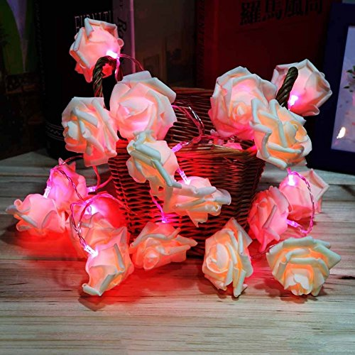 Wrisky Fairy Wedding Party Christmas Decoration Garland 20 LED Rose Flower String Light (Pink)