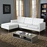 LexMod Florence Style Left-Arm Corner Sectional Leather Sofa, White