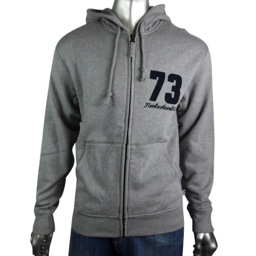 Mens Timberland Fleece Lined Hoody Hoodie Hooded Sweater Grey Full Zip Size S