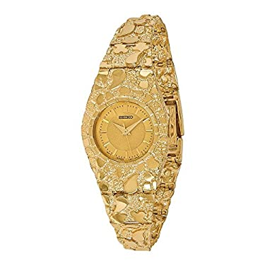 14k Ladies Circular Champagne 22mm Dial Solid Nugget Watch, Best Quality Free Gift Box Satisfaction Guaranteed
