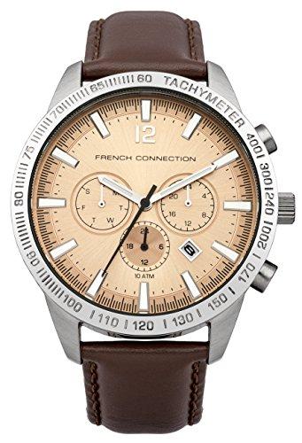 French Connection FC1236T - Reloj para hombres, correa de cuero color marrón