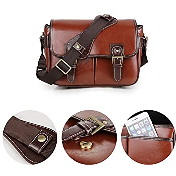 Koolertron 1533278 Waterproof Vintage Fashionable PU Leature DSLR Camera Bag Shoulder Messenger Bag Fit DSLR with 2 Lenses for Canon, Sony, Nikon, Canon Olympus & So on, Brown