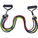 SAVFY POWER CORDS RESISTANCE BANDS TUBES SET - 11 Pcs Set, Exercise Bands | Fitness Tubes | Resistance Cords | Home Gym Fitness Equipment for Pilates Yoga Core Training