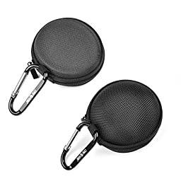 Case Star ® 2 PCS Black Color EVA Flat and Round Case for Earphone Earbuds / GOgroove BlueGATE RXT Wireless Bluetooth Audio Receiver and Transmitter with Case Star Cell Phone Bag