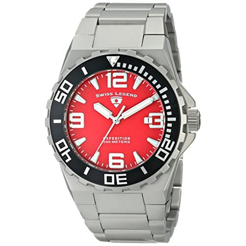 Swiss Legend Men's Expedition Steel Bracelet & Case Sapphitek Crystal Quartz Red Dial Date Watch 10008-55