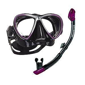 Juego de máscaras Synergy Twin Máscara y Spectra Dry Snorkel de scubapro en bomotabag en negro Purple