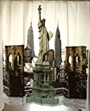Rock The Bath Novelty New York Black Green Silver statue of liberty Empire State Shower Curtain