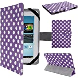 """Anladia Luxury Leather Folio Fold Case Cover Protection Skin Pouch Wallet For 7"""" 7 inch Android Tablet PC, Lenovo IdeaTab A2107 A2207, Lenovo A3000,A5000, Lenovo A1000 A1020, HP SLATE7 SLATE 7, NOOK HD 7"""" Tablet, ARCHOS 70 COBALT, Huawei MediaPad 7 Vogue, Kobo Arc 7 HD, T-Mobile SpringBoard 7"""", 7"""" Inch Samsung Galaxy Tab P1000 P6200 P3100 P3113 P3110, 7"""" Archos Arnova 7F G3, Kobo Vox, Kobo Arc, 7"""" CAPACITIVE MULTI TOUCH ANDROID 4.0 Tablet PC ,Acer Iconia A100, Dell Venue 7, 7"""" Pipo S3pro, Advent Vega Tegra Note 7, Asus Fonepad 7"""",HP Slate 7 Extreme (7"""", Purple & white polka dot)"""