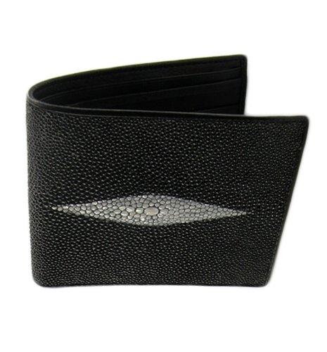 black-trifold-wallet-genuine-stingray-skin-leather