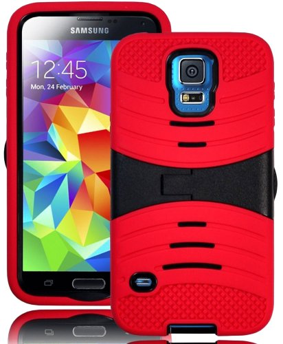 Mylife (Tm) Bright Scarlet Red And Stealth Charcoal Black - Shockproof Survivor Series (Built In Kickstand + Easy Grip Ridges) 2 Piece + 2 Layer Case For New Galaxy S5 (5G) Smartphone By Samsung (Internal Flex Silicone Bumper Gel + Internal 2 Piece Rubber