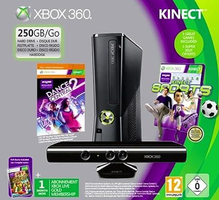 Xbox 360 - Console 250 GB con Sensore Kinect, 3 giochi e Abbonamento Xbox Live Gold 1 Mese [Bundle]