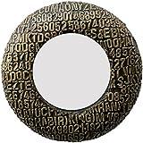 Divraya Wood Brass Plated Round Wall Mirror (30.48 Cm X 4 Cm X 30.48 Cm, Metallic, DA131)