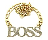 New Gold Link Rhinestone BOSS Necklace RN1001GDCLR