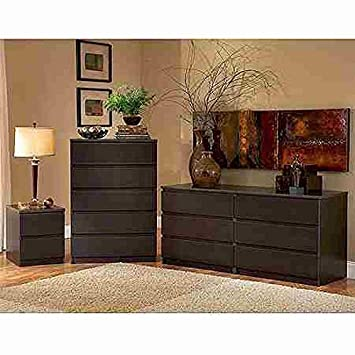 Laguna Double Dresser, 5-drawer Chest and Nightstand Set, Espresso by Nightstand