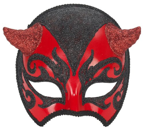 Black And Red Venetian Mask With Horns - Adult Std.