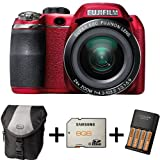 Fujifilm FinePix S4200 Red + Case +8GB Memory +4 AA Batteries and Charger (14MP, 24x Optical Zoom) 3 inch LCD Screen