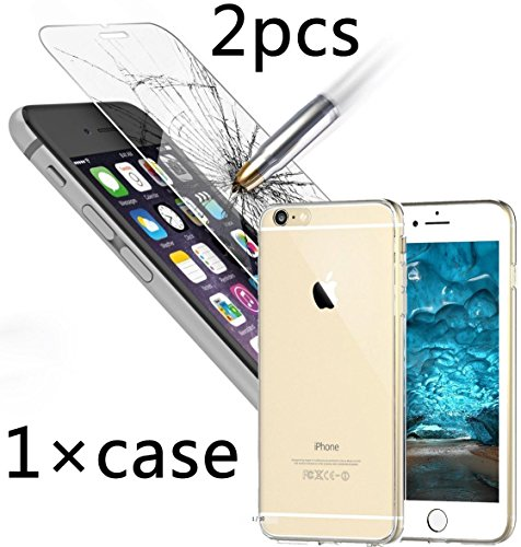 Bekhic Iphone 6 6s plus Case Cover + 2pcs Tempered Glass Screen Protectorfor Iphone 6 plus 6s plus 5.5 Inch [Best Deal] (5.5
