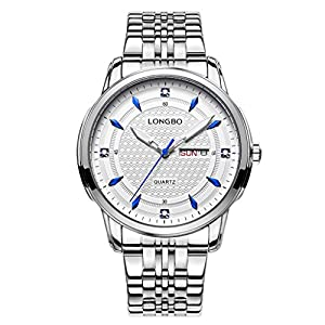 LONGBO Elegant Men Silver Full Stainless Steel Band Business Quartz Watch Blue Hands Dial Date Day Calendar Multifunction Dress Wristwatch Couple Watches