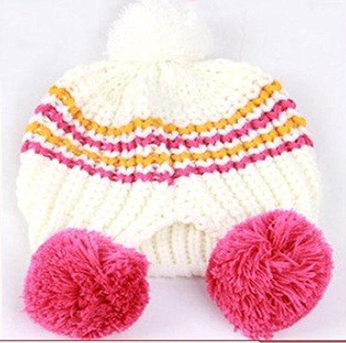 PinkXenia Newborn White & Pink knitted ear warm two balls beanie Cap