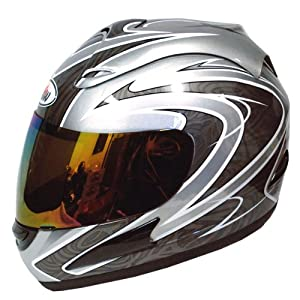 Motorcycle Street Bike Silver Star Full Face Adult Helmet