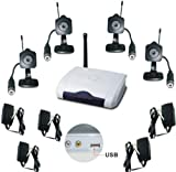 Wireless USB Video Surveliance System with 4 Color Cameras