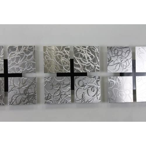 Silver Set of Three Metal Multi Piece Abstract Patterned Etched Modern Wall Art Sculpture 3 Kings By Jon Allen