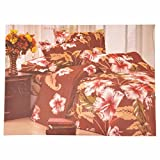 LaBella Brown With White Prints coloured LB006 Printed design Double Bed sheets