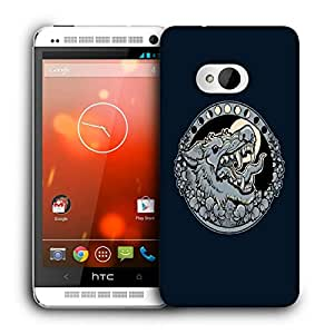 Snoogg Grey Wolf Roaring Designer Protective Back Case Cover For HTC ONE M7