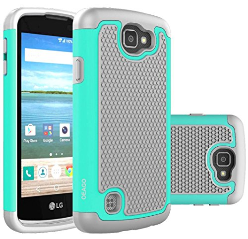 OEAGO LG K4 LTE Case, LG Spree Case, LG Rebel LTE Case Cover Accessories - Shock-Absorption Dual Layer Defender Protective Case Cover For LG K4 LTE / LG Spree / LG Rebel LTE / LG Optimus Zone 3 - Mint (Lg Tracfone Cases compare prices)