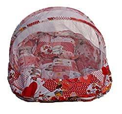 Amardeep and Co Baby Mattress with Mosquito Net Collage (Red) - SB-03