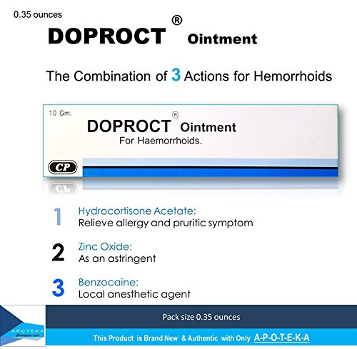 Hydrocortisone Hemorrhoids Relief Ointment (Doproct Ointment Packing 0.35 ounces) Effective with 3 Actions for Internal and external hemorrhoids and Itching proctitis (Human Hair Freeze compare prices)