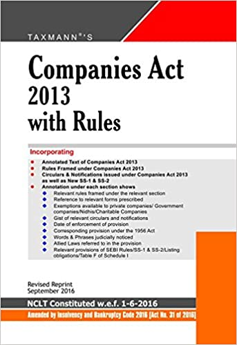 Companies Act with Rules (Hardbound Pocket Edition) (Revised Reprint September 2016 Edition)