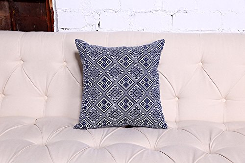 Home Style Cotton Linen Fret Accent Decorative Throw Pillow Cover Cushion Case,18 x 18 inch chinese style peony flower linen cushion cover pillow case