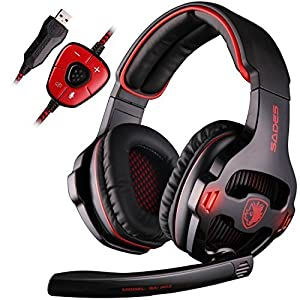 Sades 7.1 Virtual Surround Sound USB Stereo Over Ear Gaming Headset Headphones with Microphone Volume Control for PC gamers