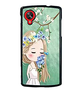 Fuson Premium 2D Back Case Cover Cute girl in flowers With Black Background Degined For LG Google Nexus 5::LG Google Nexus 5 (2014 1st Gen)