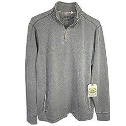 Margaritaville Mens \'Porto 1/4 Zip\' Pullover Shirt, Charcoal, XL