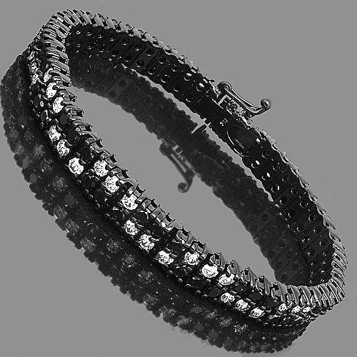 14K Gold PVD Plated Mens Diamond Bracelet  Black