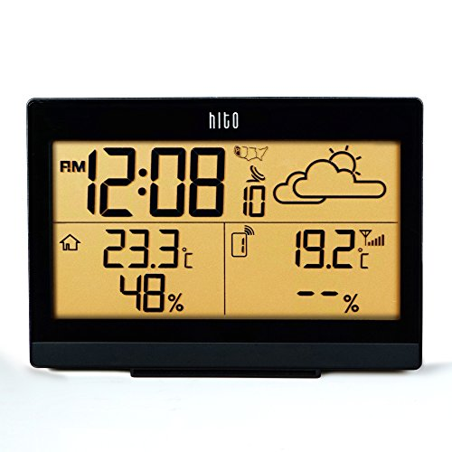 HITO Wireless Weather Station Atomic Radio Controlled Alarm Clock w/ Backlight, Indoor Outdoor Temperature and Humidity -Battery Operated (Weather+Temperature Humidity-Black)