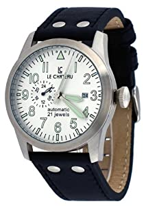 Le Chateau #7081M_SIL Men's Dynamo Collection Silver Dial Leather Automatic Watch