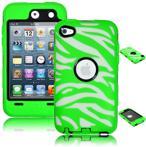 Bastex Heavy Duty Hybrid Case For Touch 4, 4Th Generation Ipod Touch - White Zebra With Green front-469456
