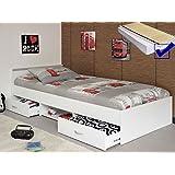 Jugendbett, Bett 90x200 cm weiss + Lattenrost + Matratze + Bettkasten Singlebett Kinderbett Leader 1.1